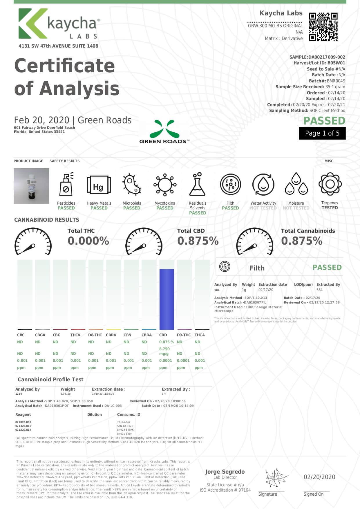 Green Roads CBD Tincture Broad Spectrum Original Mild Lab Report