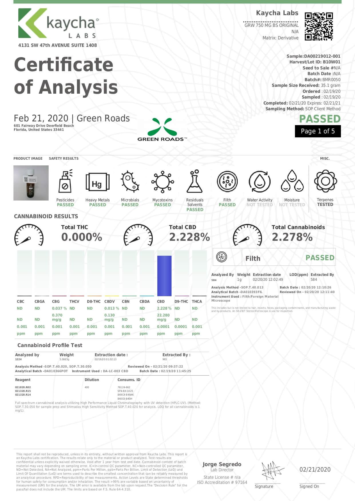Green Roads CBD Tincture Broad Spectrum Original Moderate Lab Report