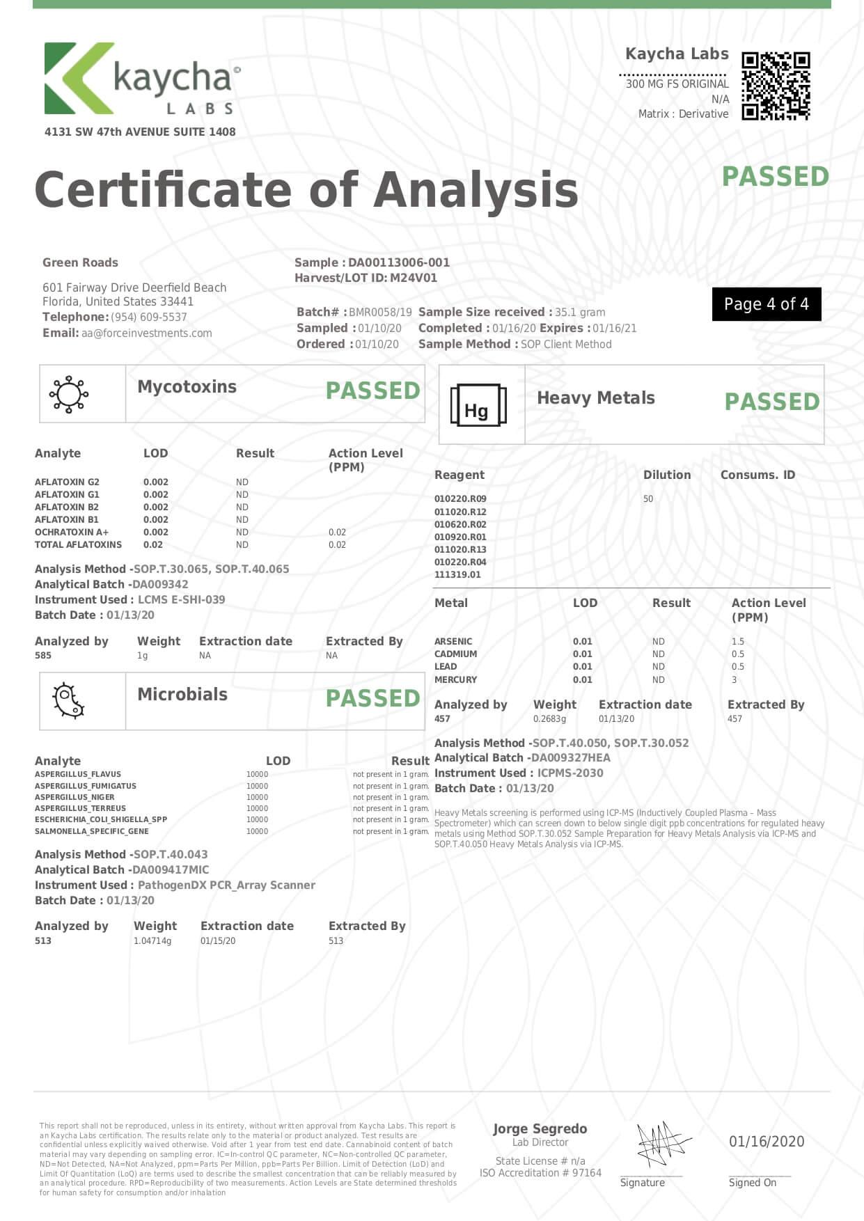 Green Roads CBD Tincture Full Spectrum Mild Lab Report
