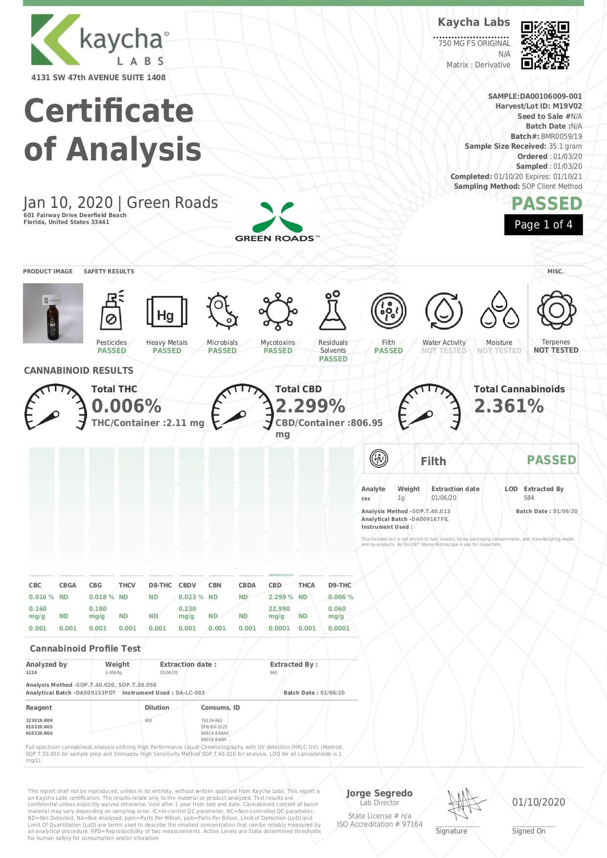 Green Roads CBD Tincture Full Spectrum Moderate Lab Report