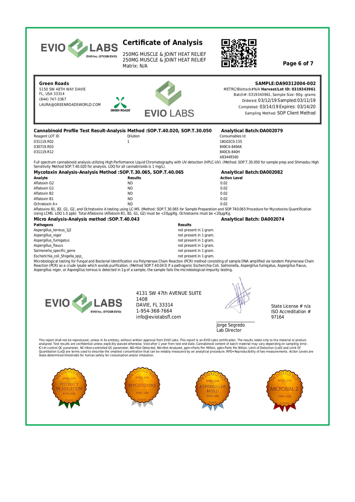 Green Roads CBD Topical Muscle & Joint Heat Relief Roll-On 250mg Lab Report