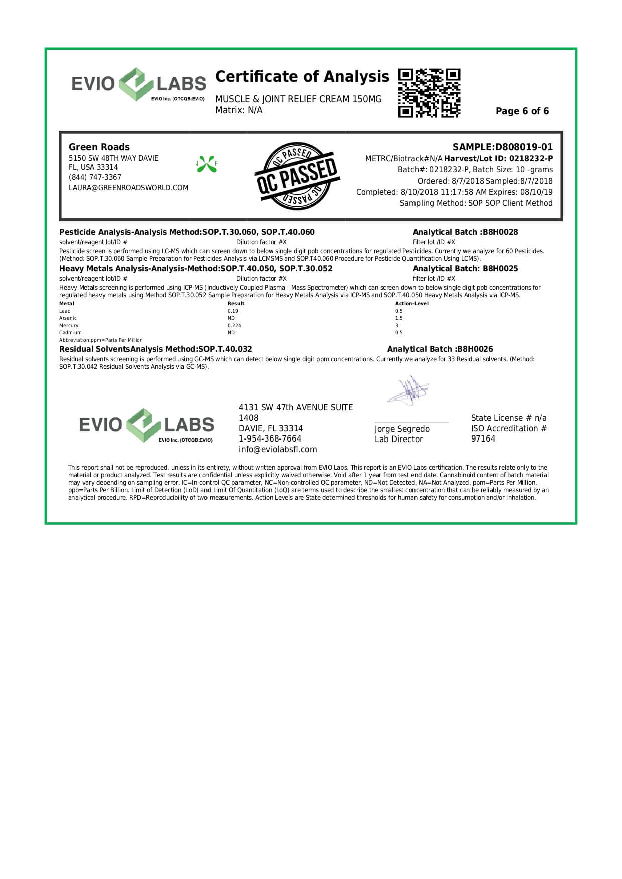 Green Roads CBD Topical Pain Cream 150mg Lab Report