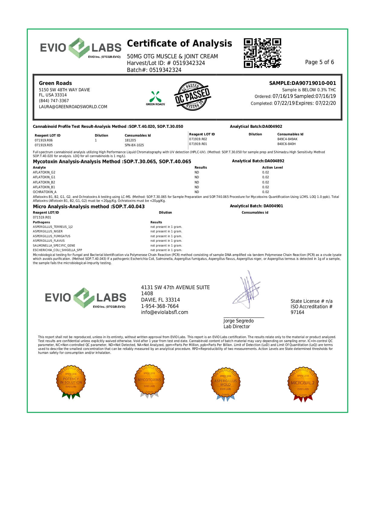 Green Roads CBD Topical Pain Cream on the Go Lab Report