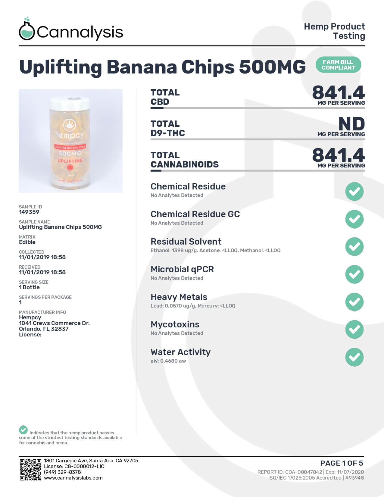 Hempcy CBD Edible Uplifting Banana Chips Lab Report