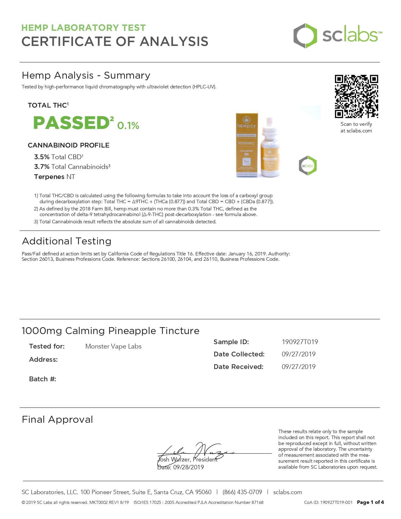 Hempcy CBD Tincture Calming Pineapple 1000mg Lab Report