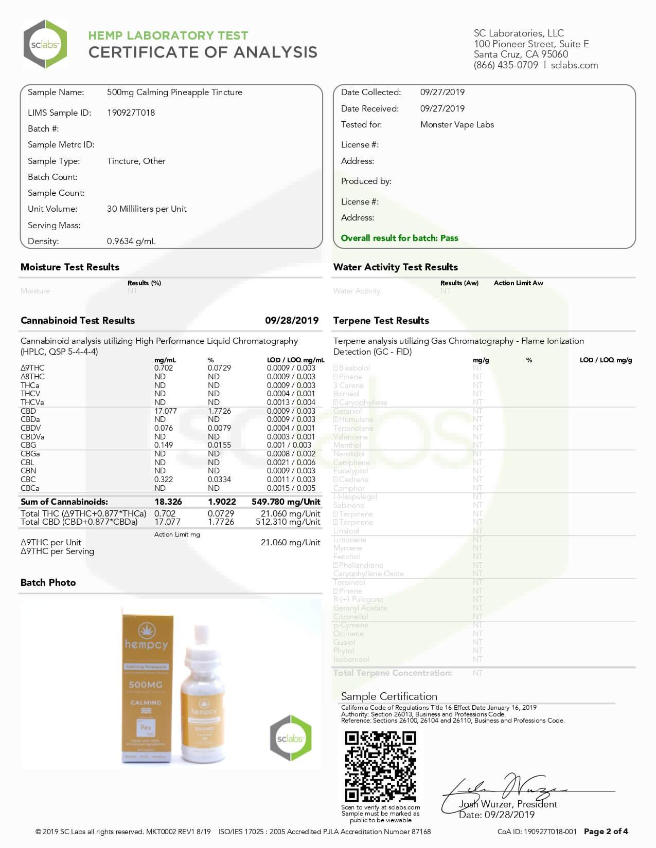 Hempcy CBD Tincture Calming Pineapple 500mg Lab Report