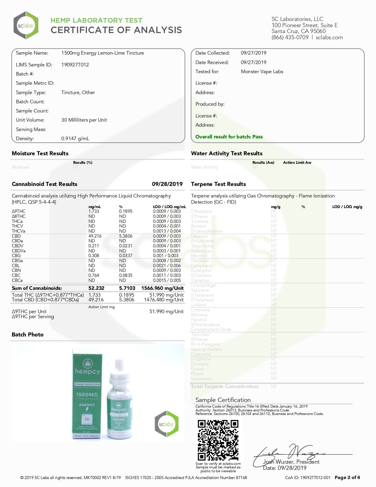 Hempcy CBD Tincture Energy Lemon Lime 1500mg Lab Report