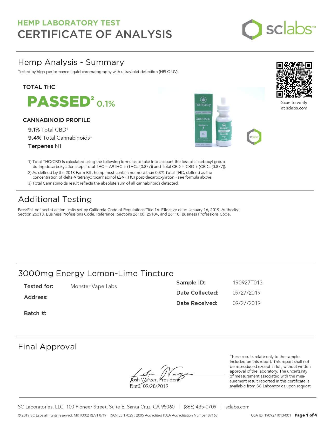 Hempcy CBD Tincture Energy Lemon Lime 3000mg Lab Report