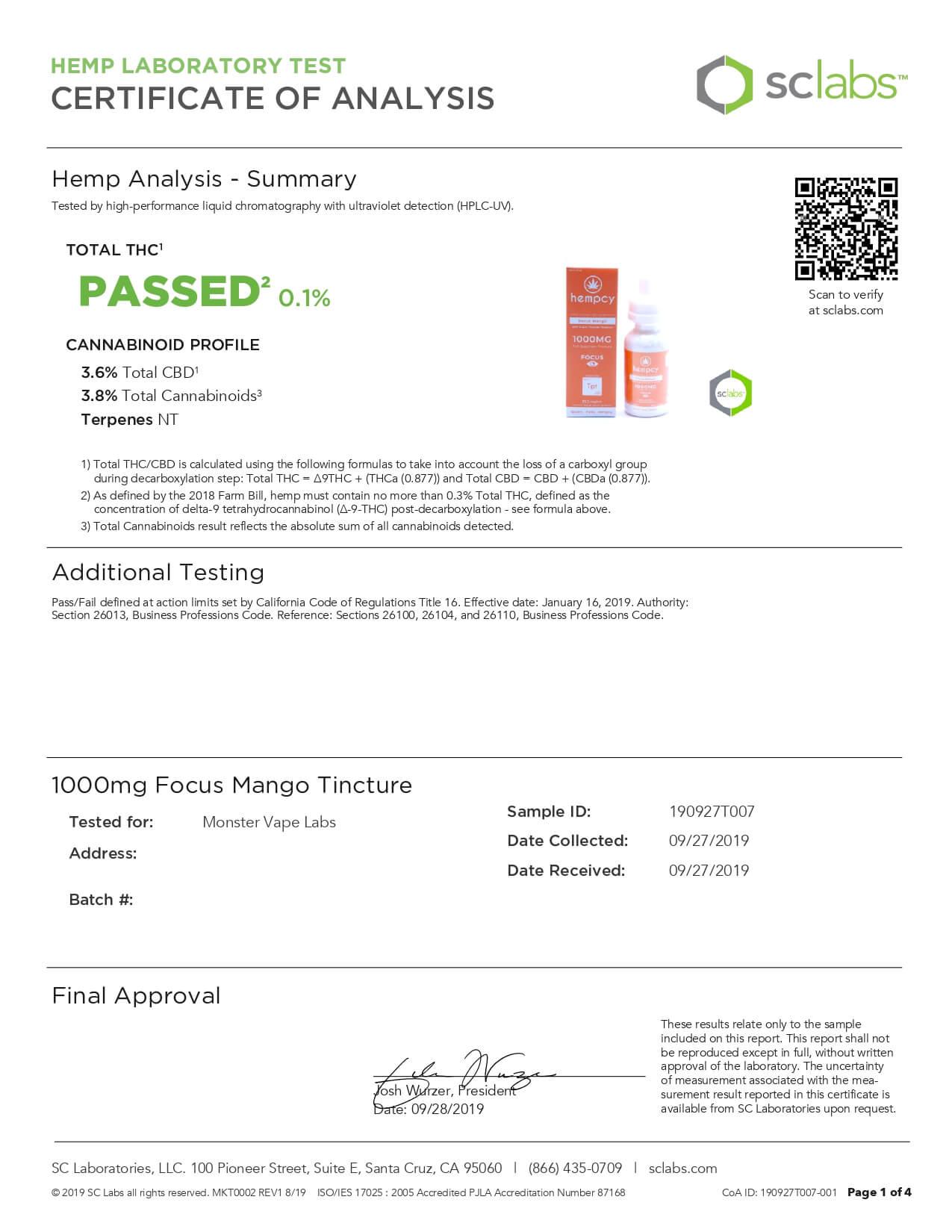 Hempcy CBD Edible Focus Mango 1000mg Lab Report