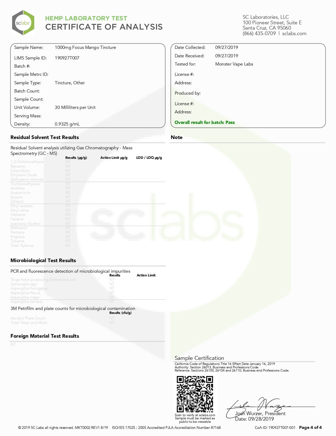 Hempcy CBD Tincture Focus Mango 1000mg Lab Report