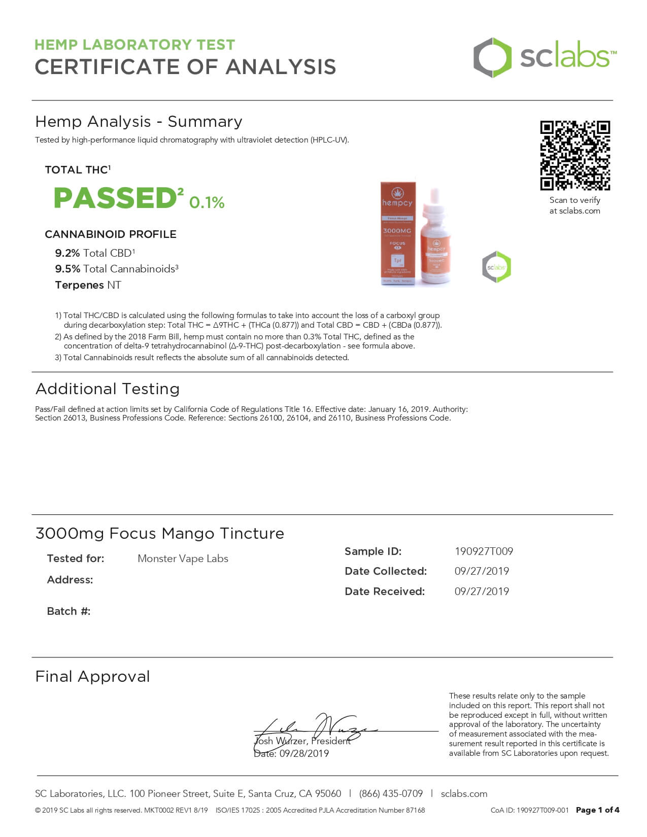 Hempcy CBD Edible Focus Mango 3000mg Lab Report