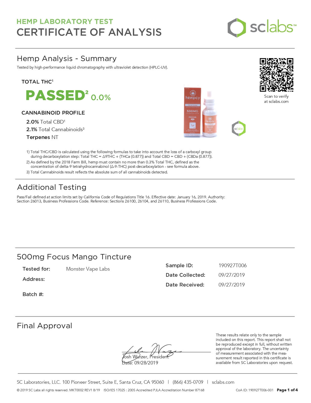Hempcy CBD Tincture Focus Mango 500mg Lab Report