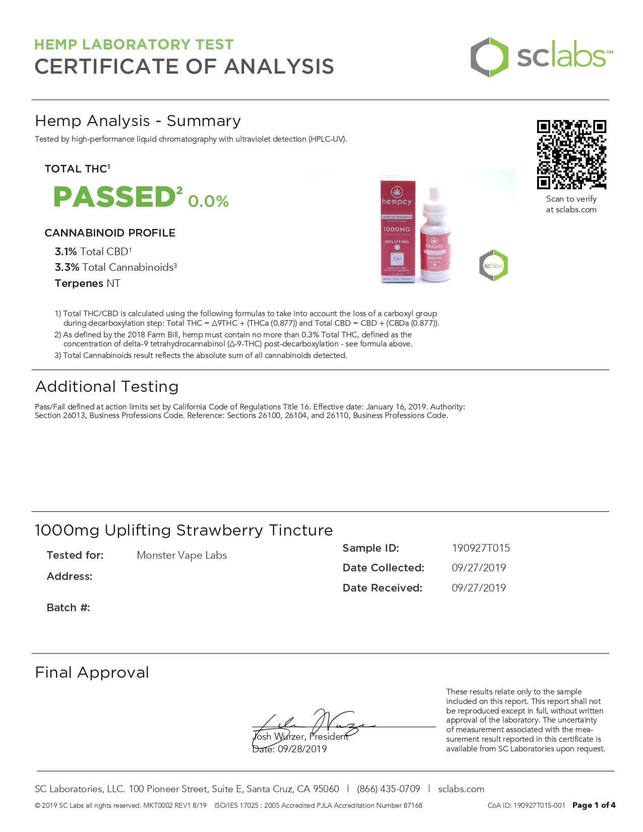 Hempcy CBD Tincture Uplifting Strawberry 1000mg Lab Report