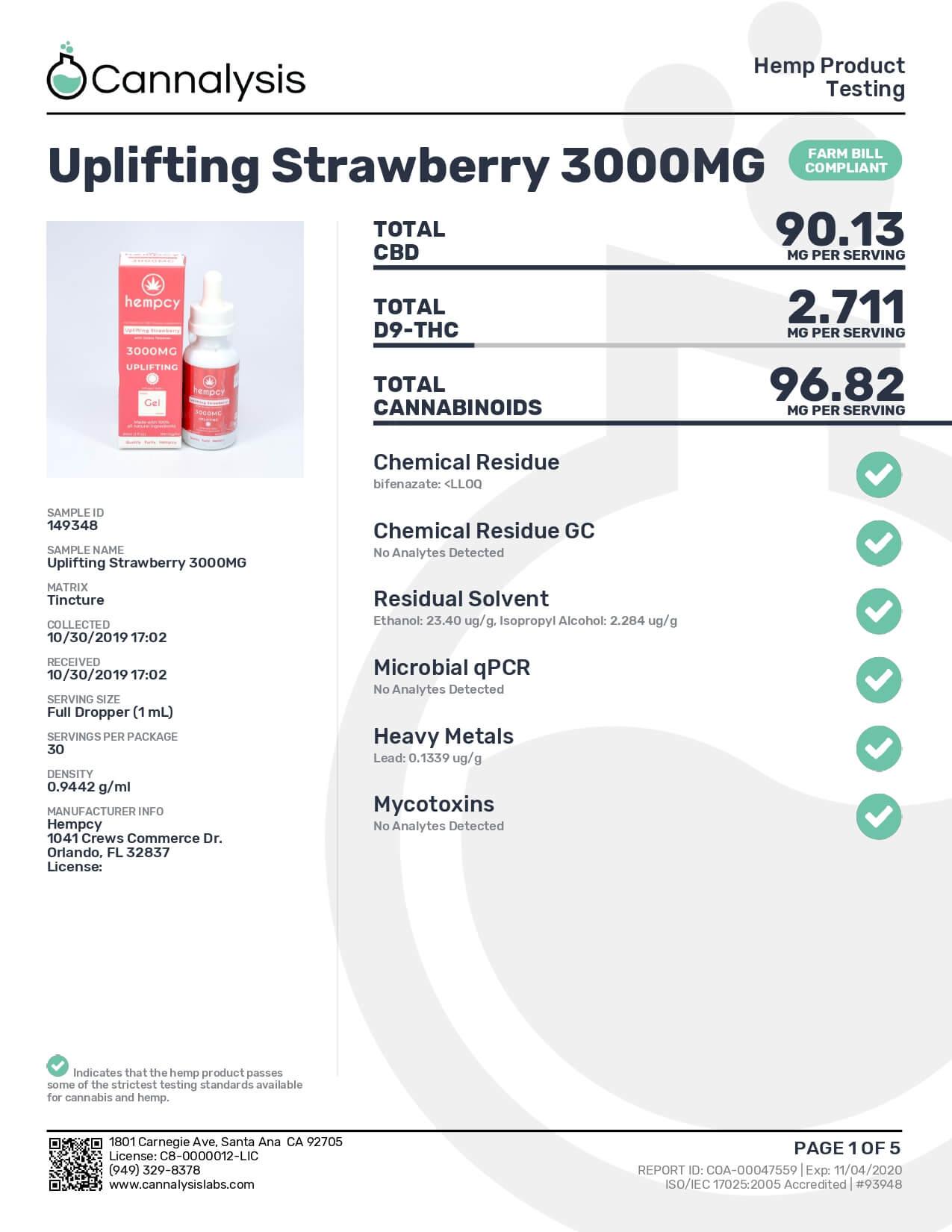 Hempcy CBD Tincture Uplifting Strawberry 3000mg Lab Report