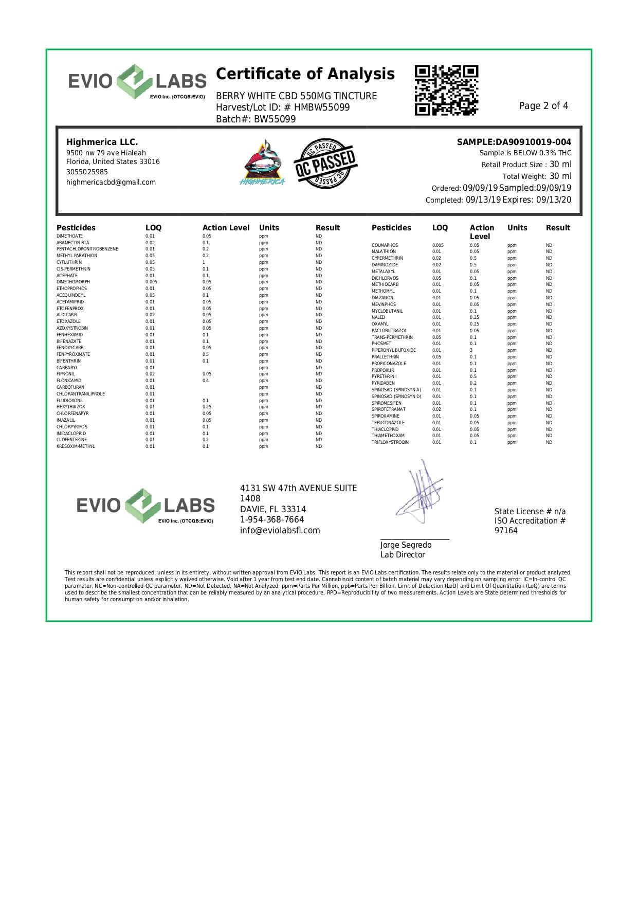 Highmerica CBD Terpenes Oil Berry White Lab Report