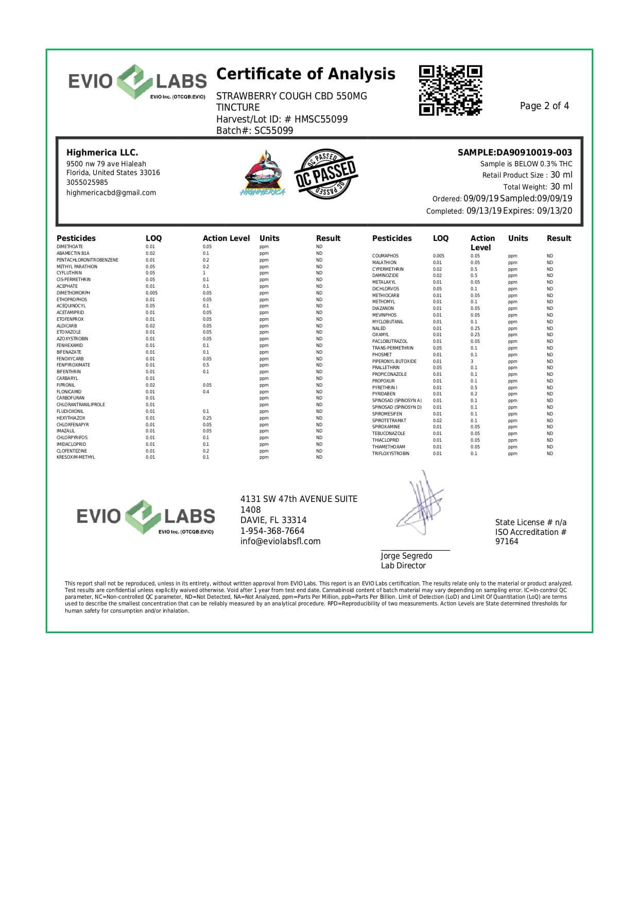 Highmerica CBD Terpenes Oil Strawberry Cough Lab Report