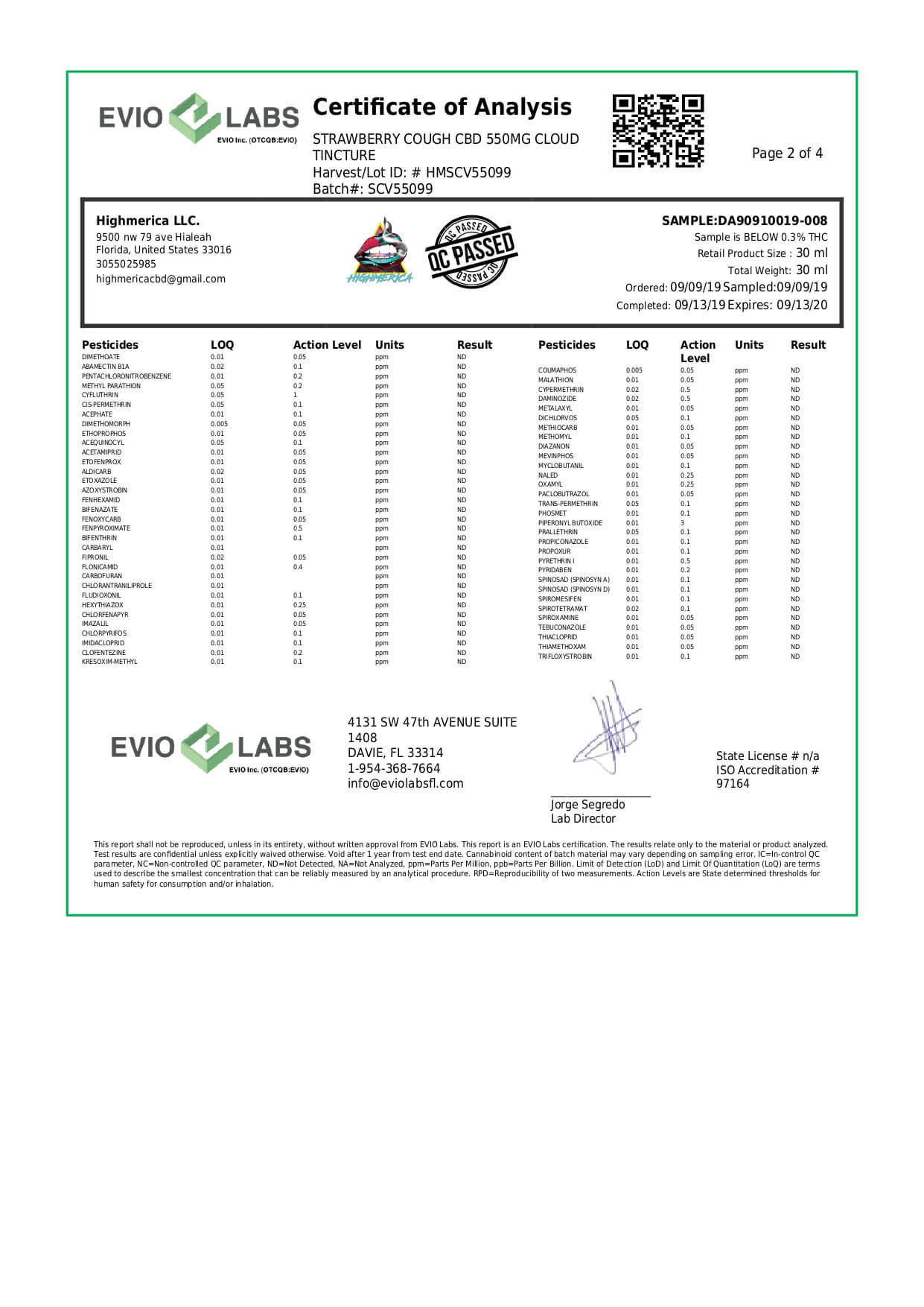 Highmerica CBD Vape Tincture Strawberry Cough Lab Report