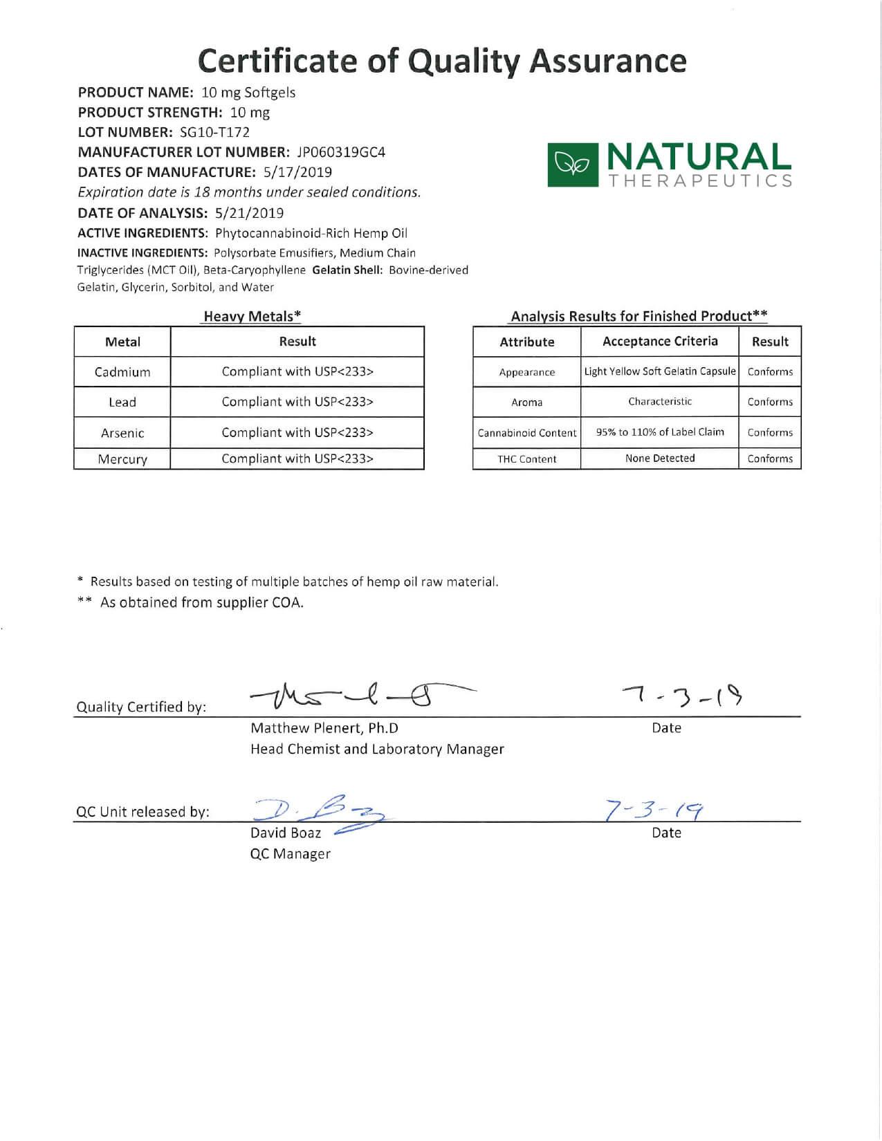 Natural Therapeutics CBD Soft Gel Caps Focus Lab Report