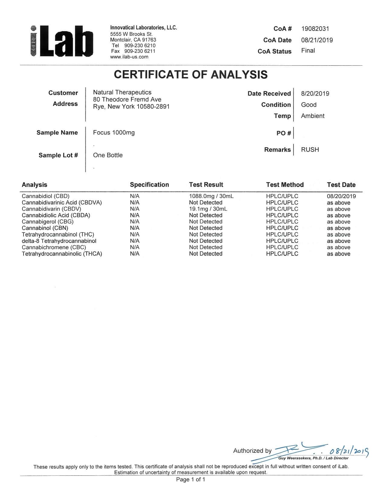 Natural Therapeutics CBD Tincture Focus Lab Report