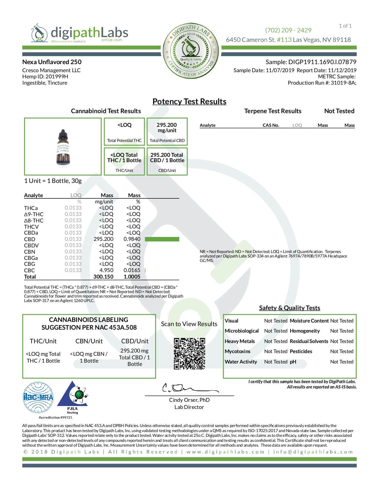 Nexa CBD Tincture Natural 250mg Lab Report