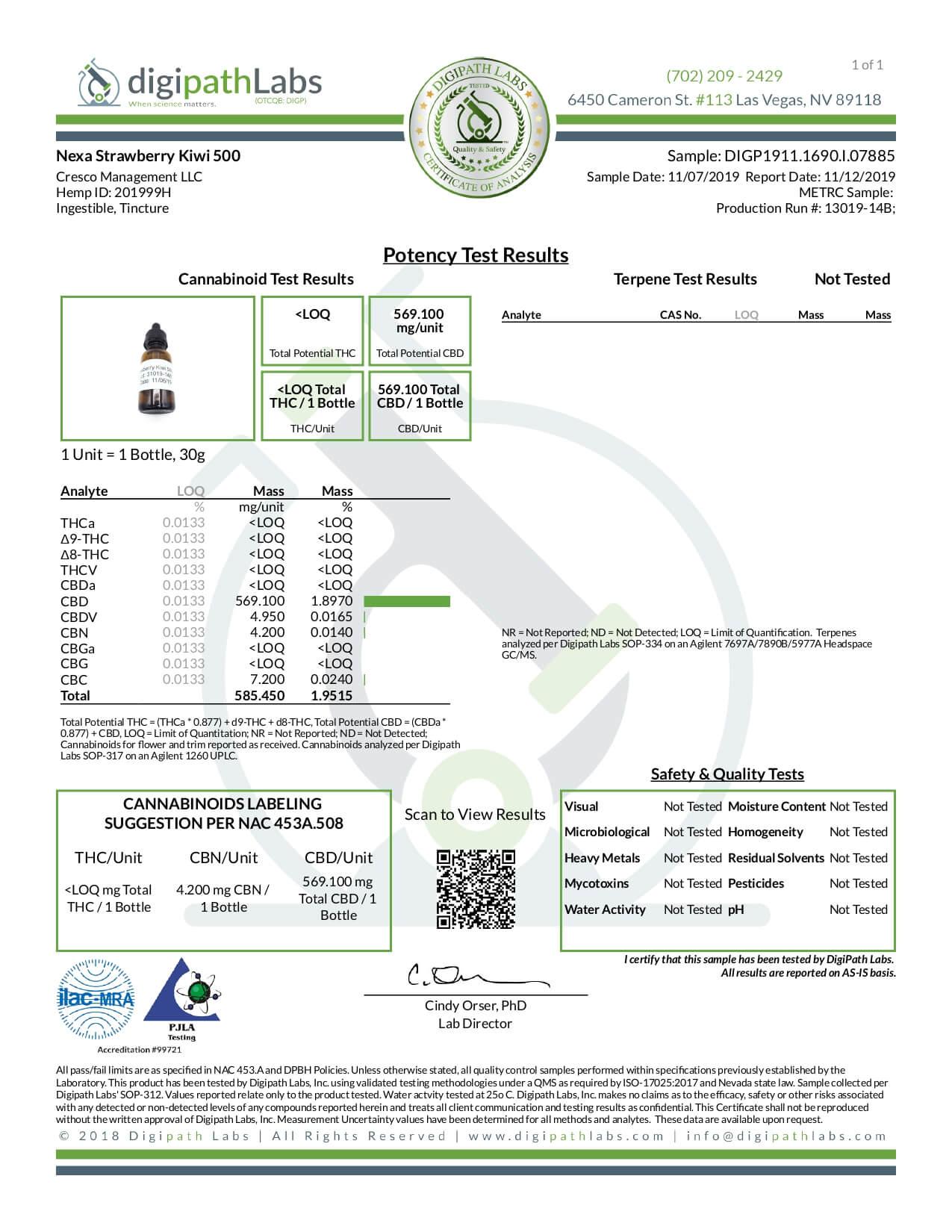 Nexa CBD Tincture Strawberry Kiwi 500mg Lab Report
