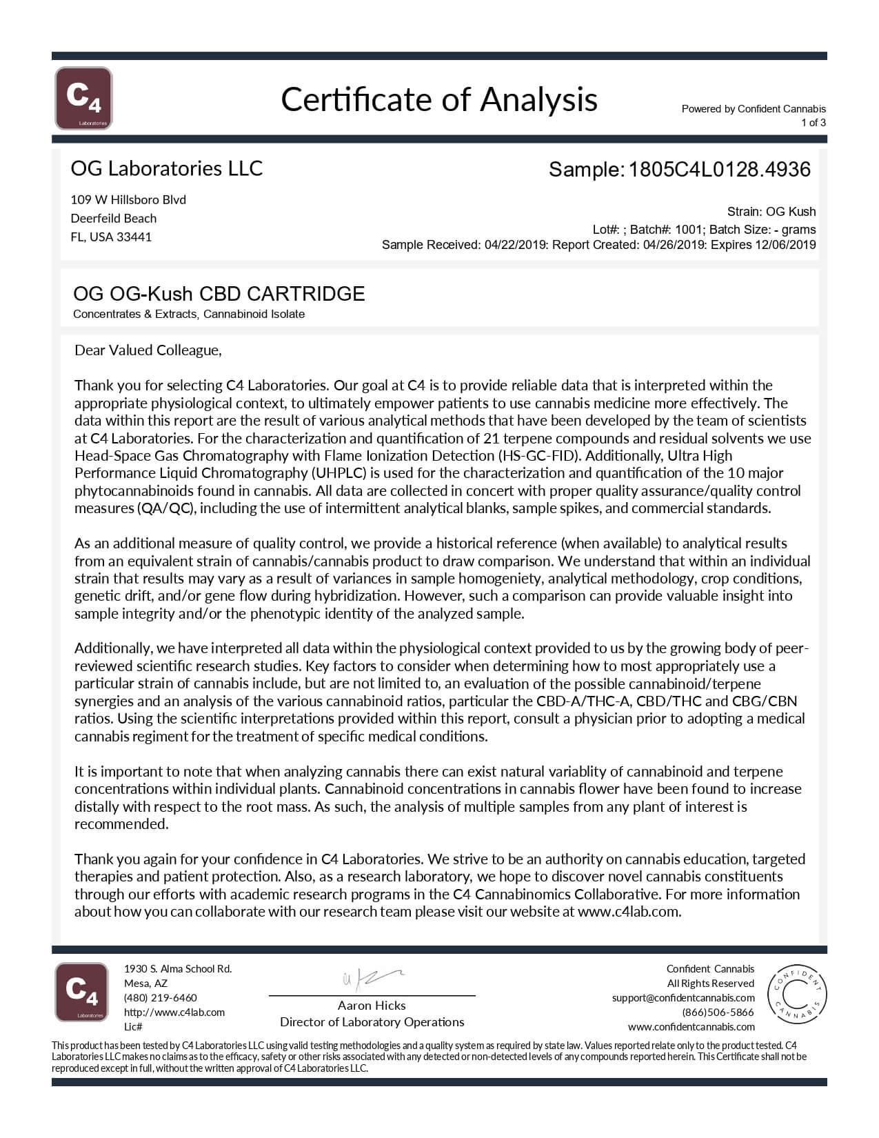 OG Labs CBD Cartridge Kush Lab Report
