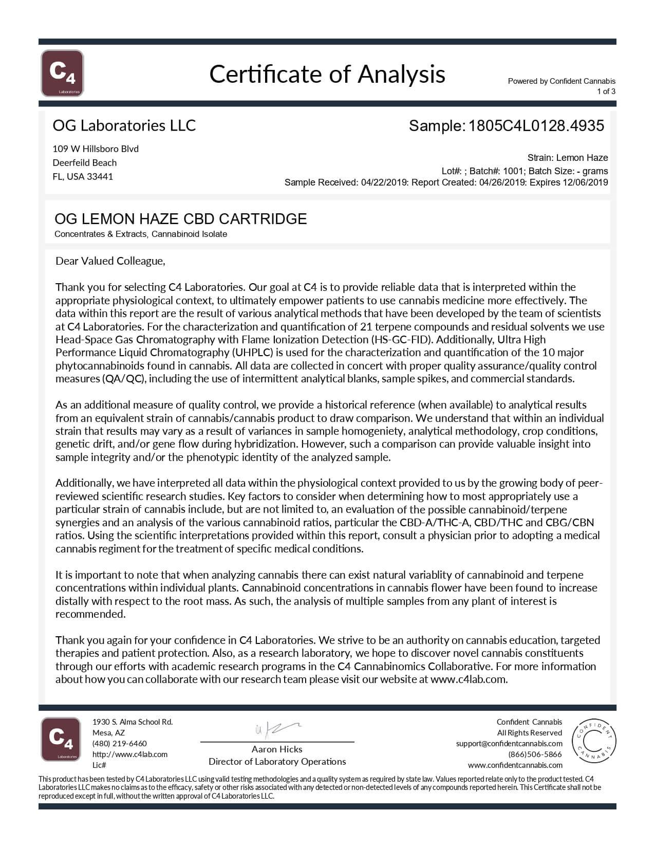 OG Labs CBD Cartridge Lemon Haze Lab Report
