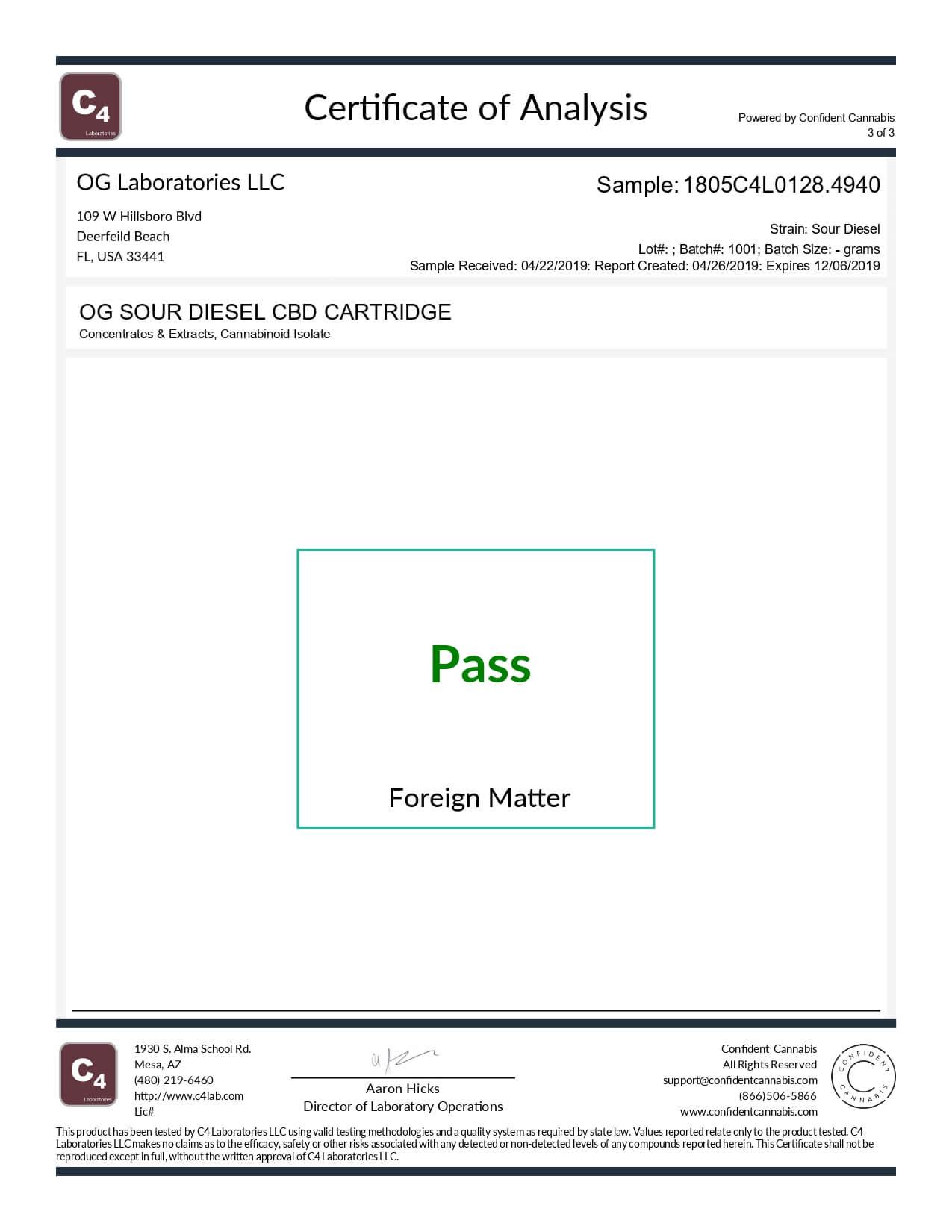 OG Labs CBD Cartridge Sour Diesel Lab Report