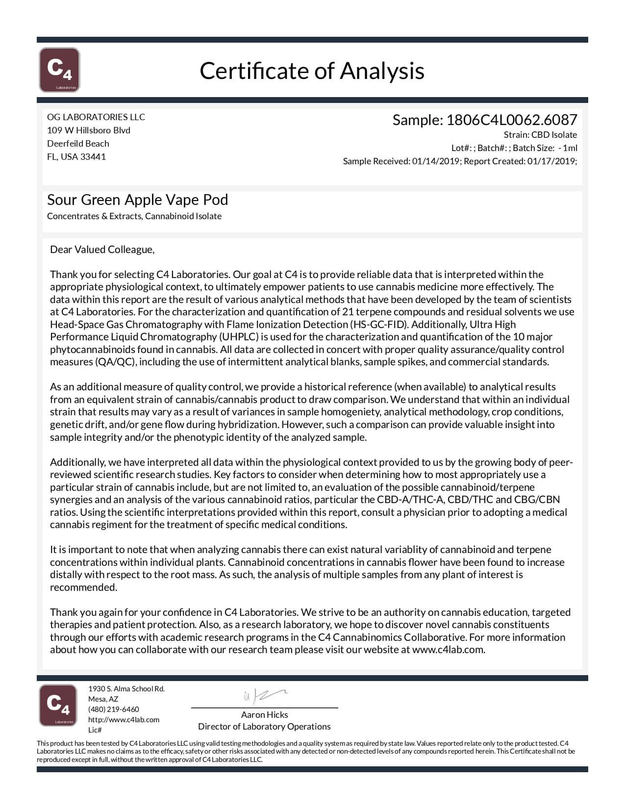 OG Labs CBD Pod Sour Green Apple Lab Report