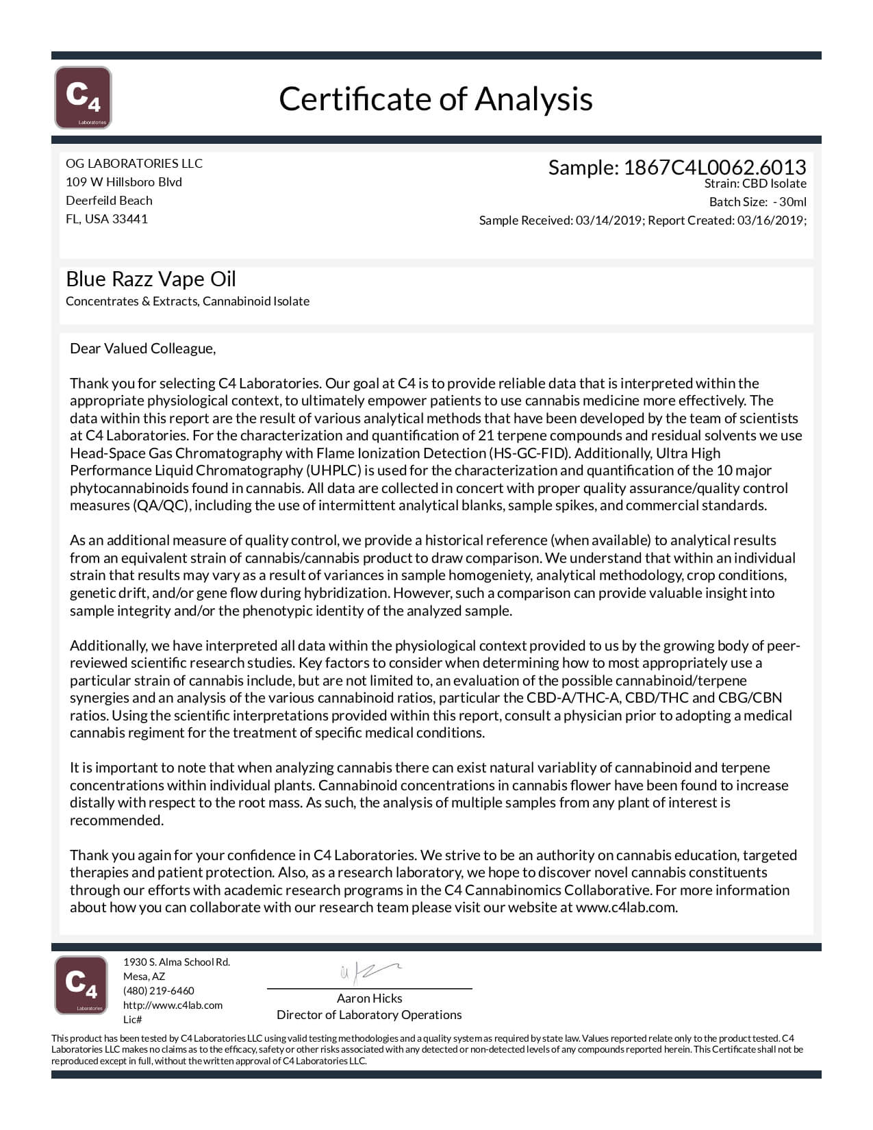 OG Labs CBD Vape Juice Blue Razz 125mg Lab Report