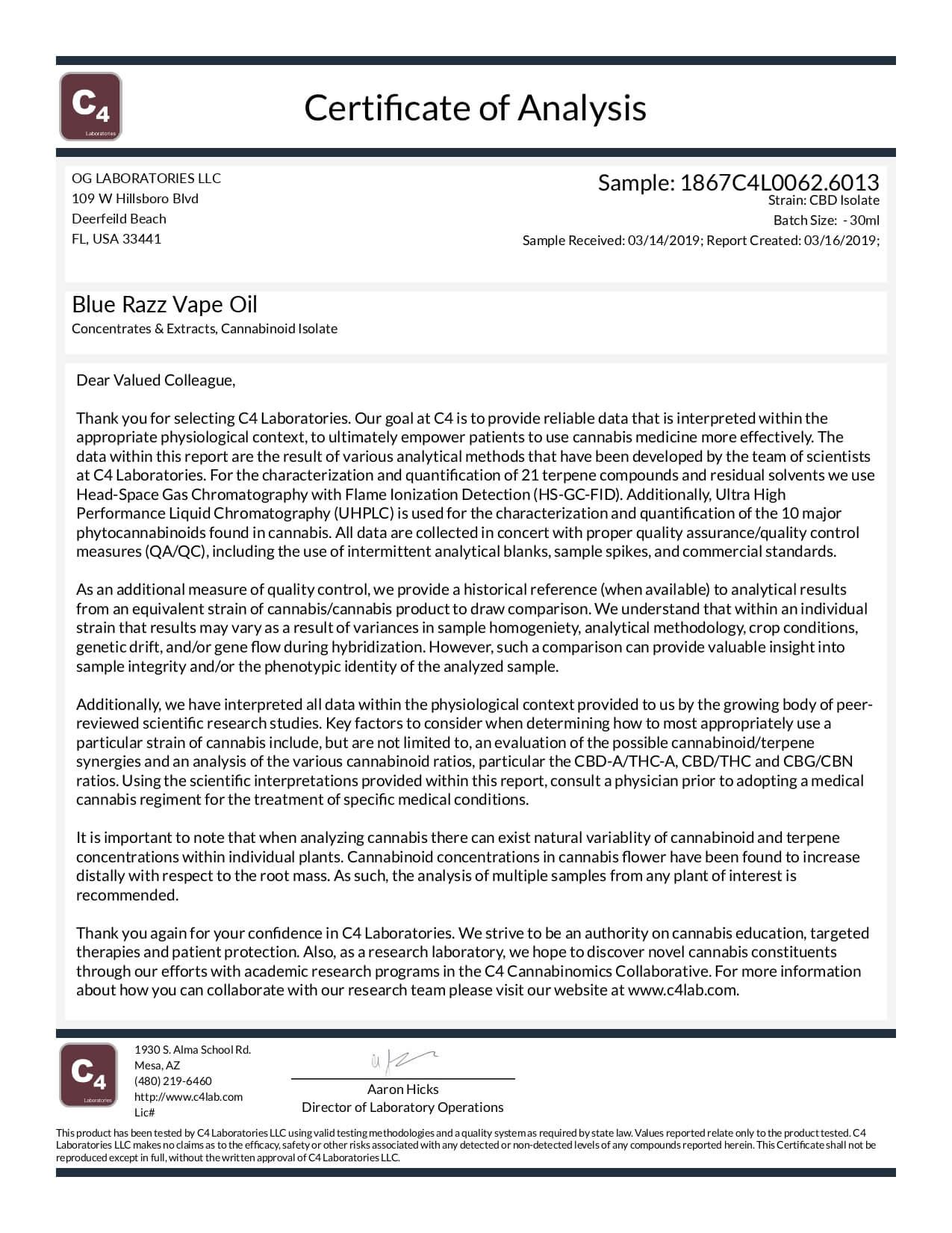 OG Labs CBD Vape Juice Blue Razz 600mg Lab Report