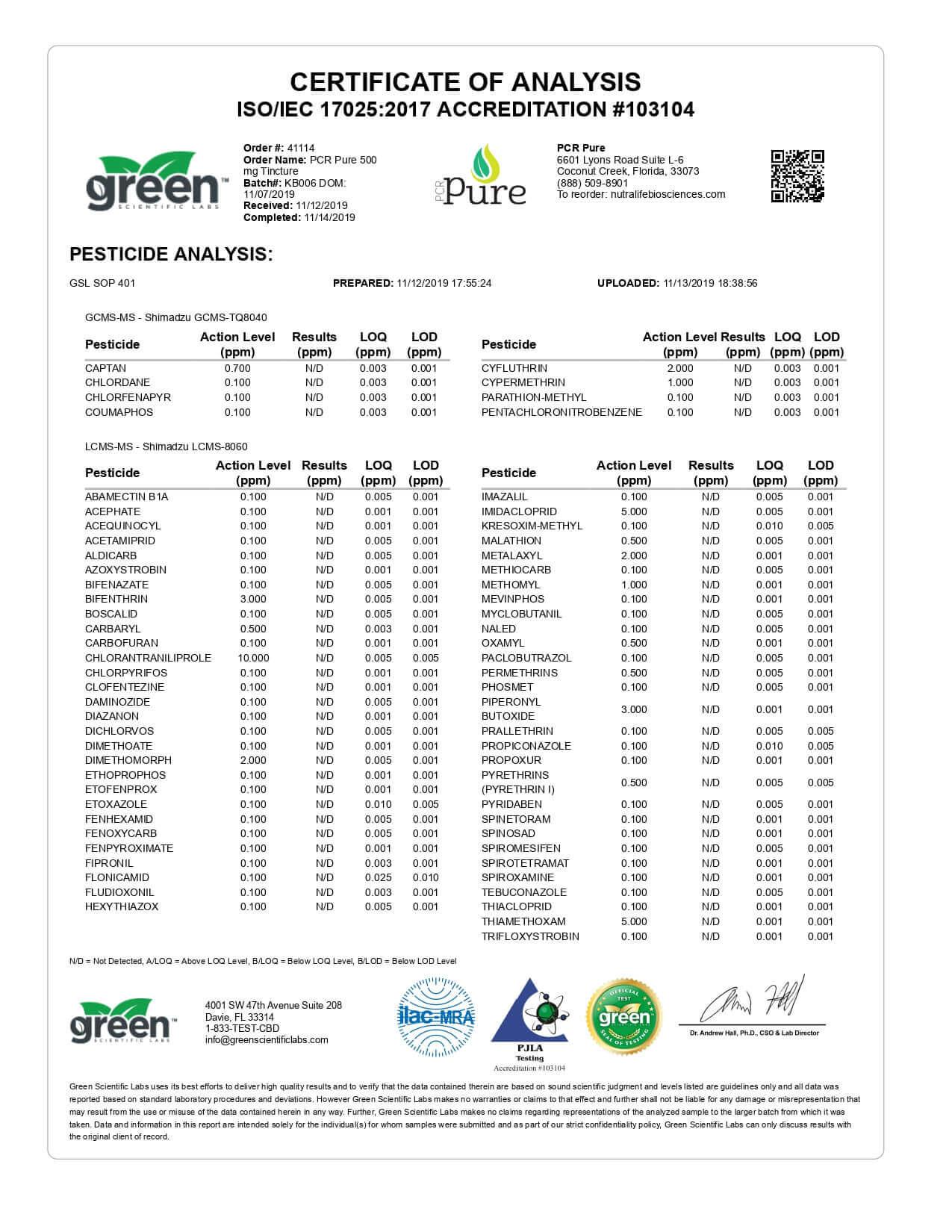 PCR Pure CBD Tincture Spray Full Spectrum 500mg Lab Report