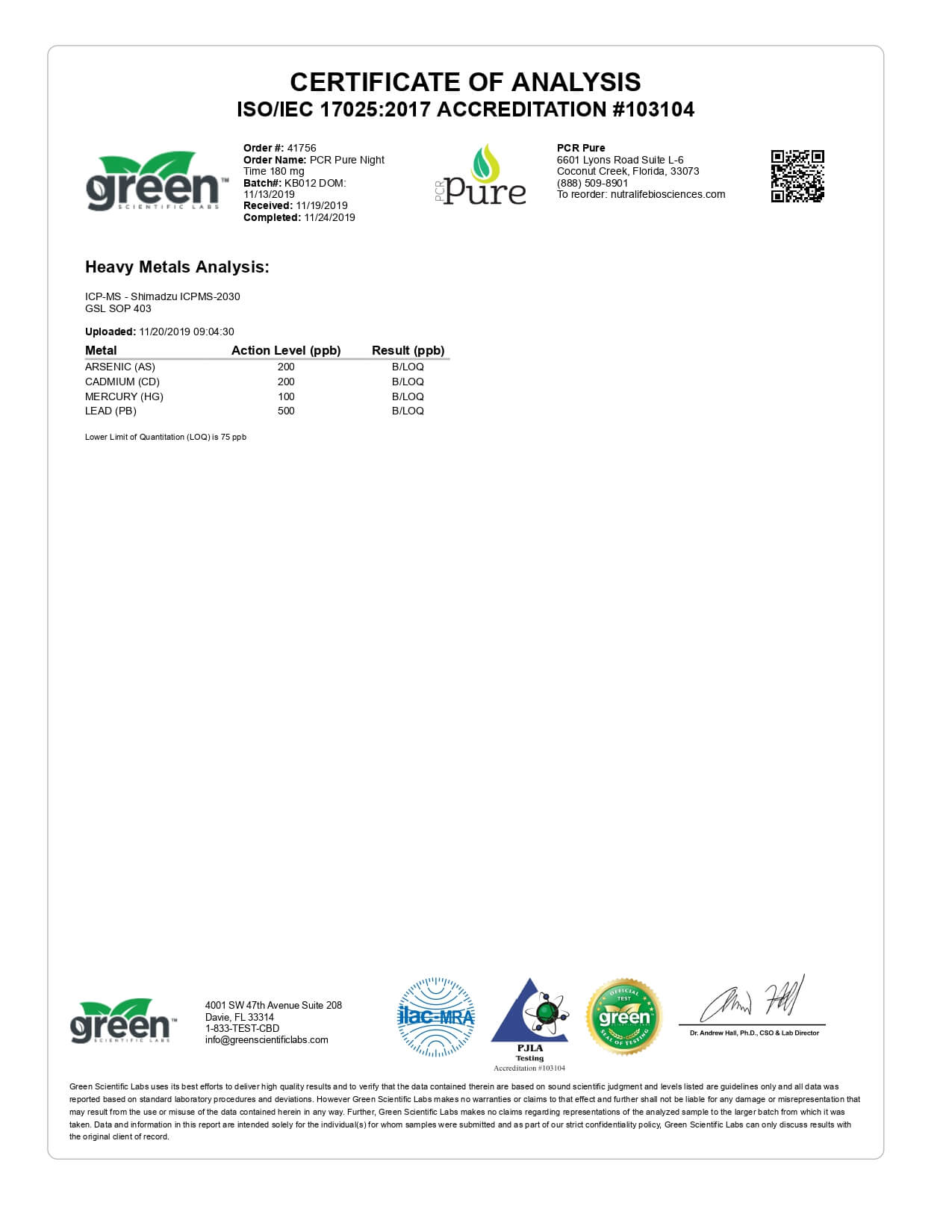 PCR Pure CBD Tincture Spray Full Spectrum Nighttime Formula Lab Report