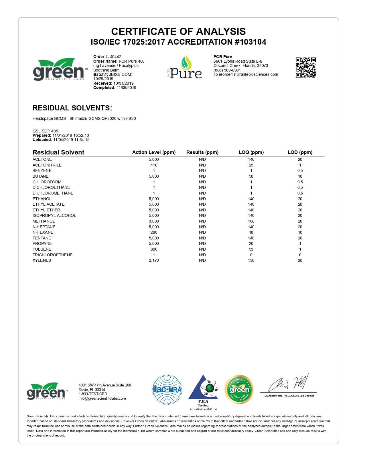 PCR Pure CBD Topical Lavender & Eycalyptus Full Spectrum Soothing Balm Lab Report