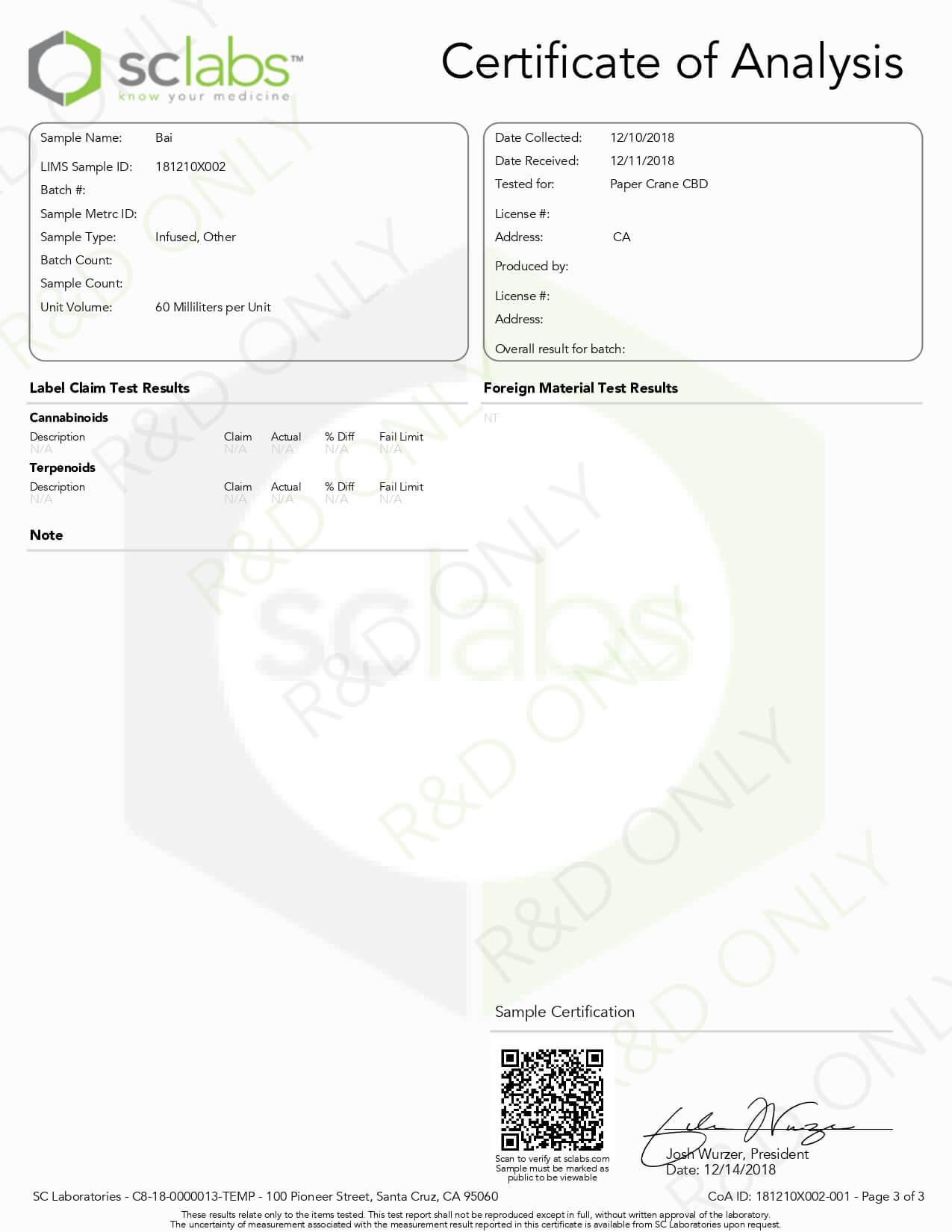 PaperCraneCBD Tincture Bai 2500mg Lab Report
