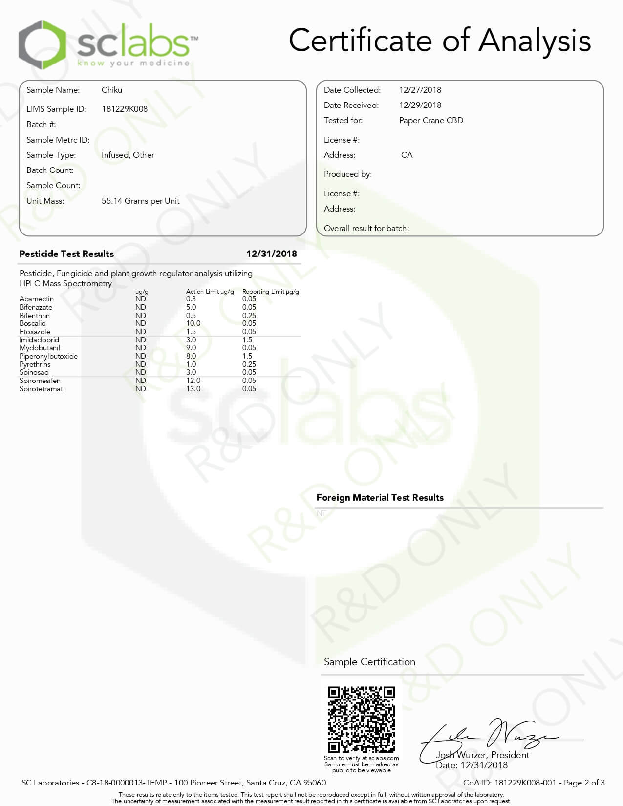 PaperCraneCBD Tincture Chiku 1500mg Lab Report