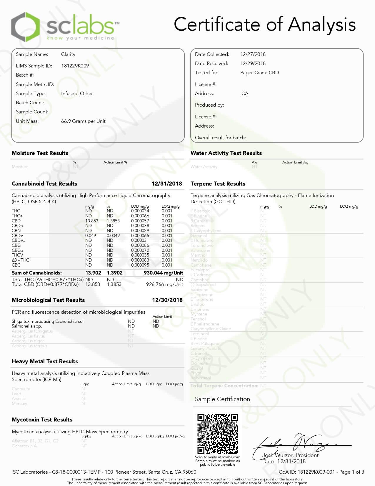 PaperCraneCBD Vape Tincture Zunoo Meiseki 1000mg Lab Report