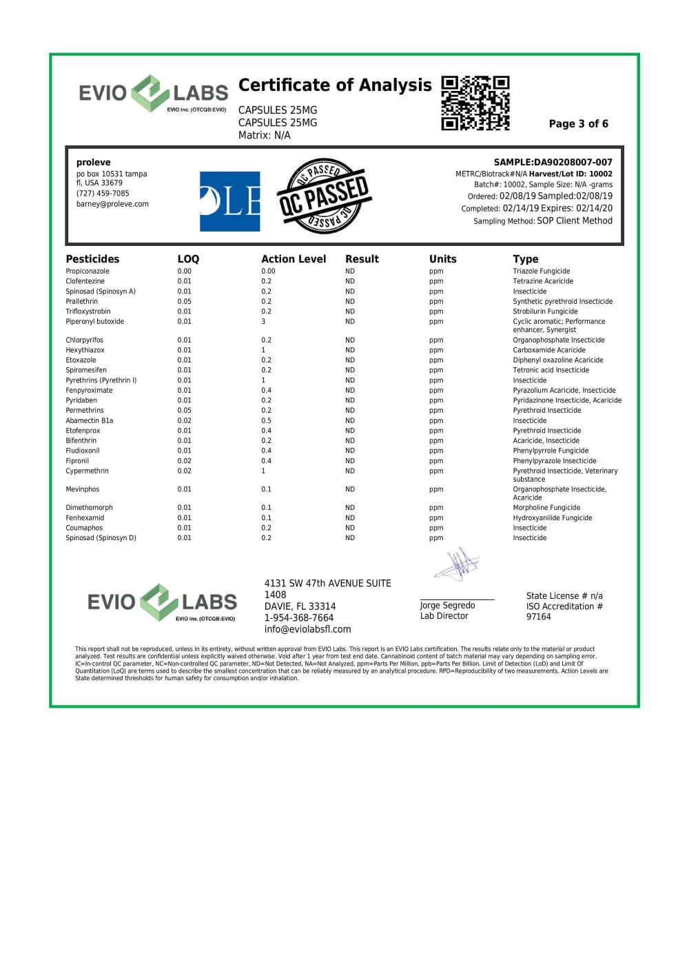 Proleve CBD Concentrate Isolate Capsule 25mg Lab Report