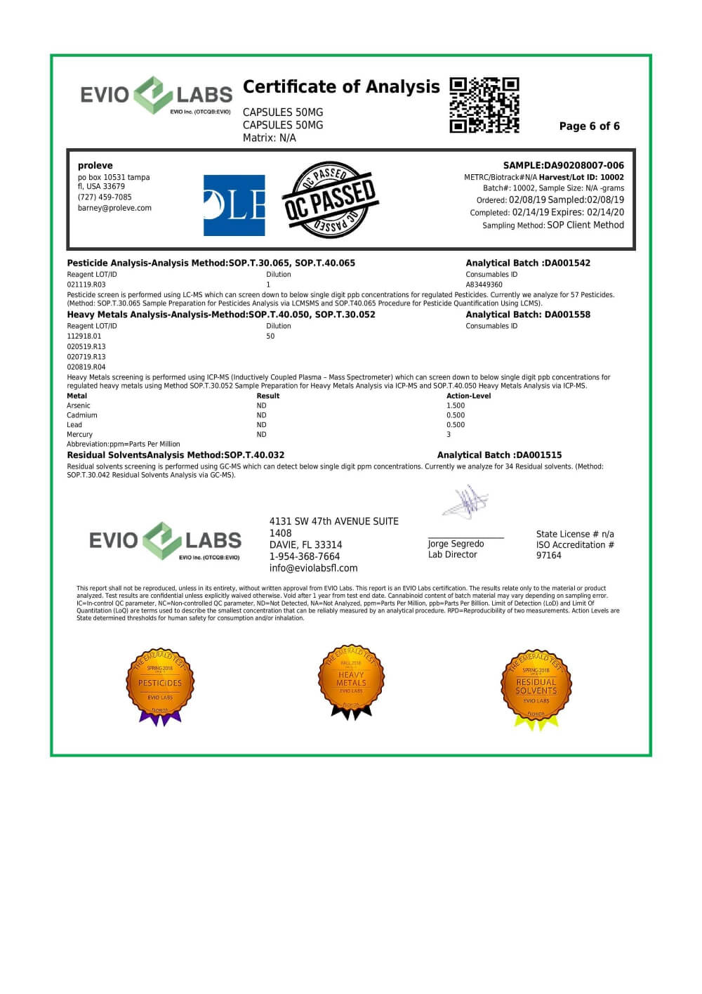 Proleve CBD Concentrate Isolate Capsule 50mg Lab Report