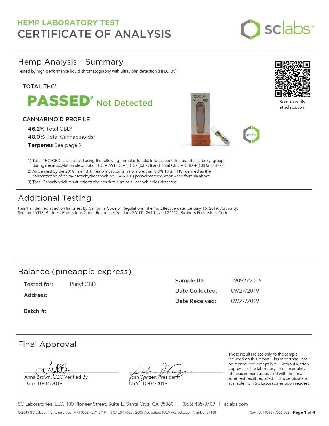 Purlyf CBD Cartridge Balance 200mg Lab Report