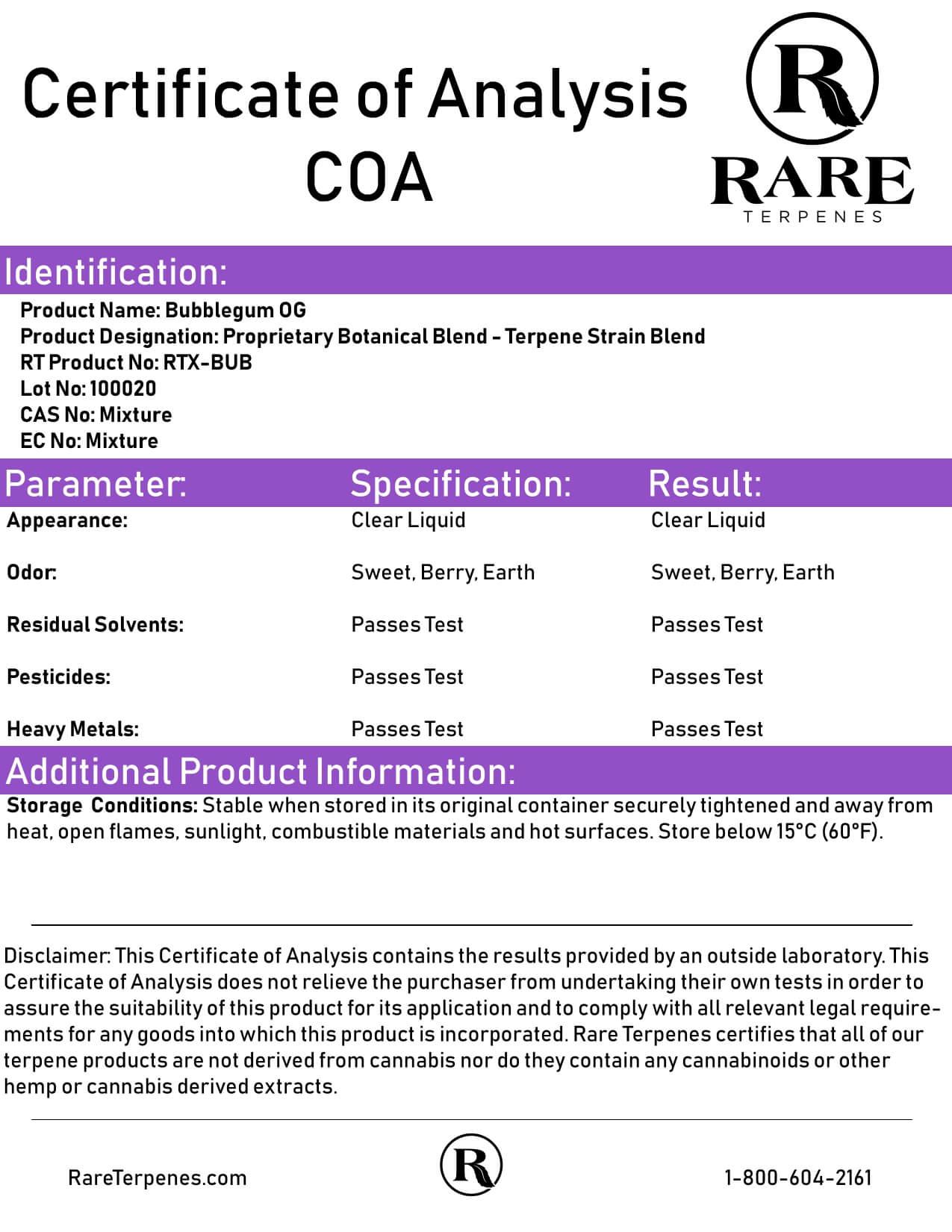 Rare Terpenes Tepene Strain Blends Bubblegum OG Lab Report