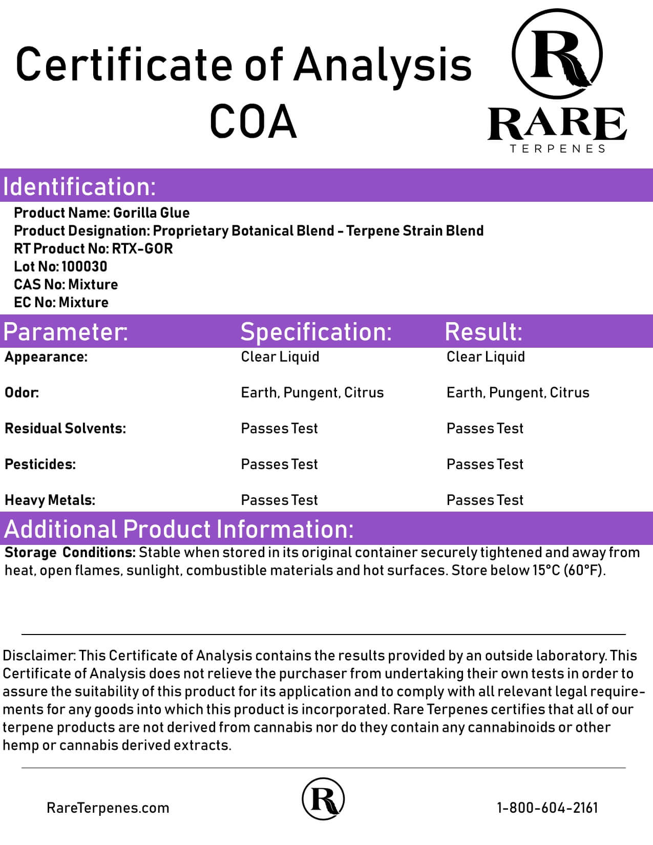 Rare Terpenes Tepene Strain Blends Gorilla Glue Lab Report