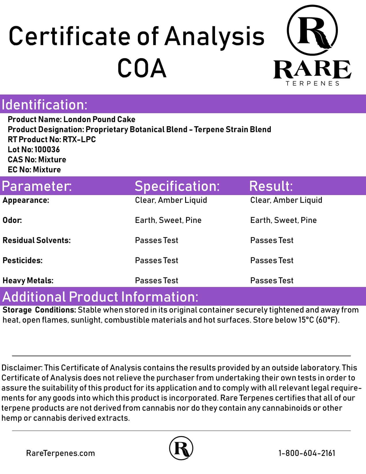 Rare Terpenes Tepene Strain Blends London Pound Cake Lab Report