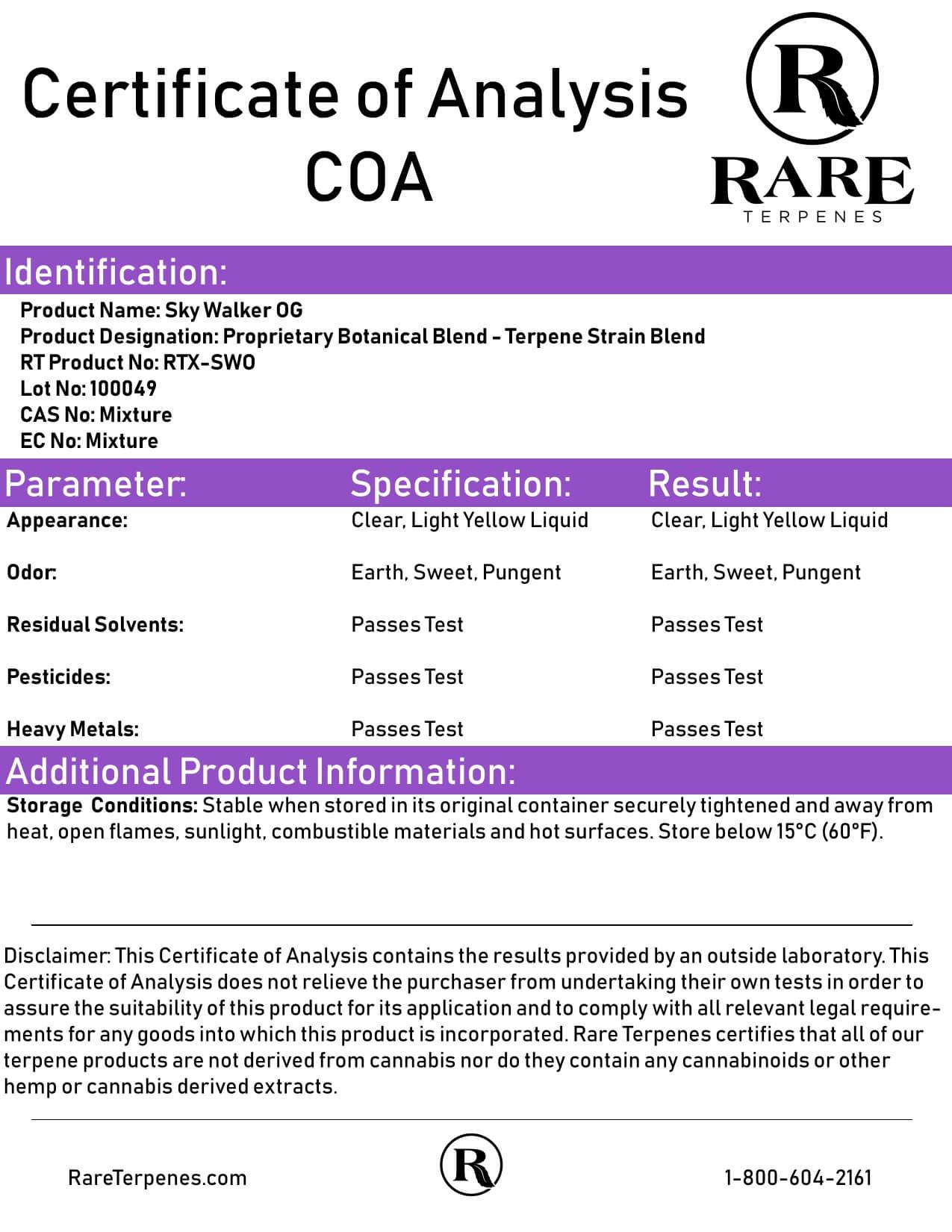 Rare Terpenes Tepene Strain Blends Sky Walker OG Lab Report