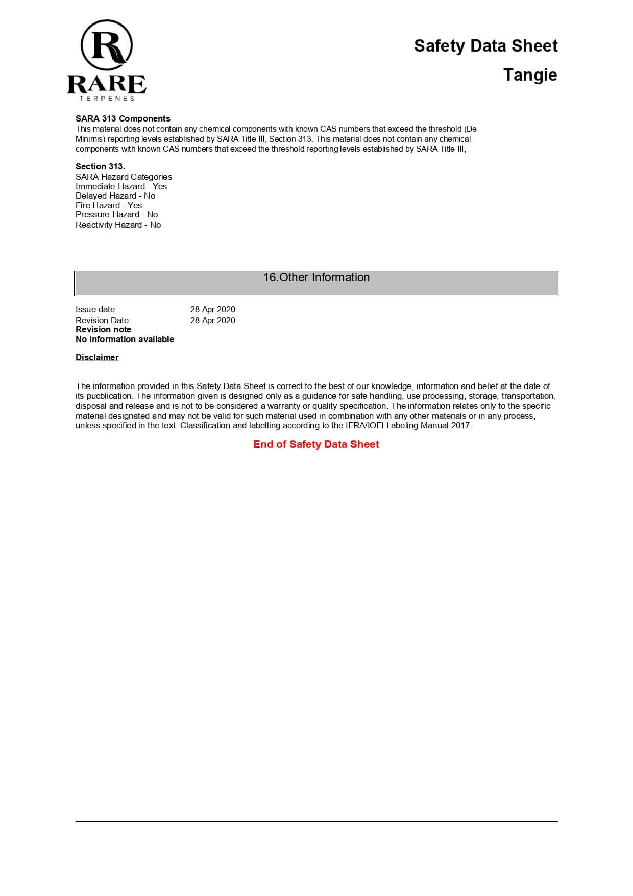 Rare Terpenes Tepene Strain Blends Tangie Lab Report