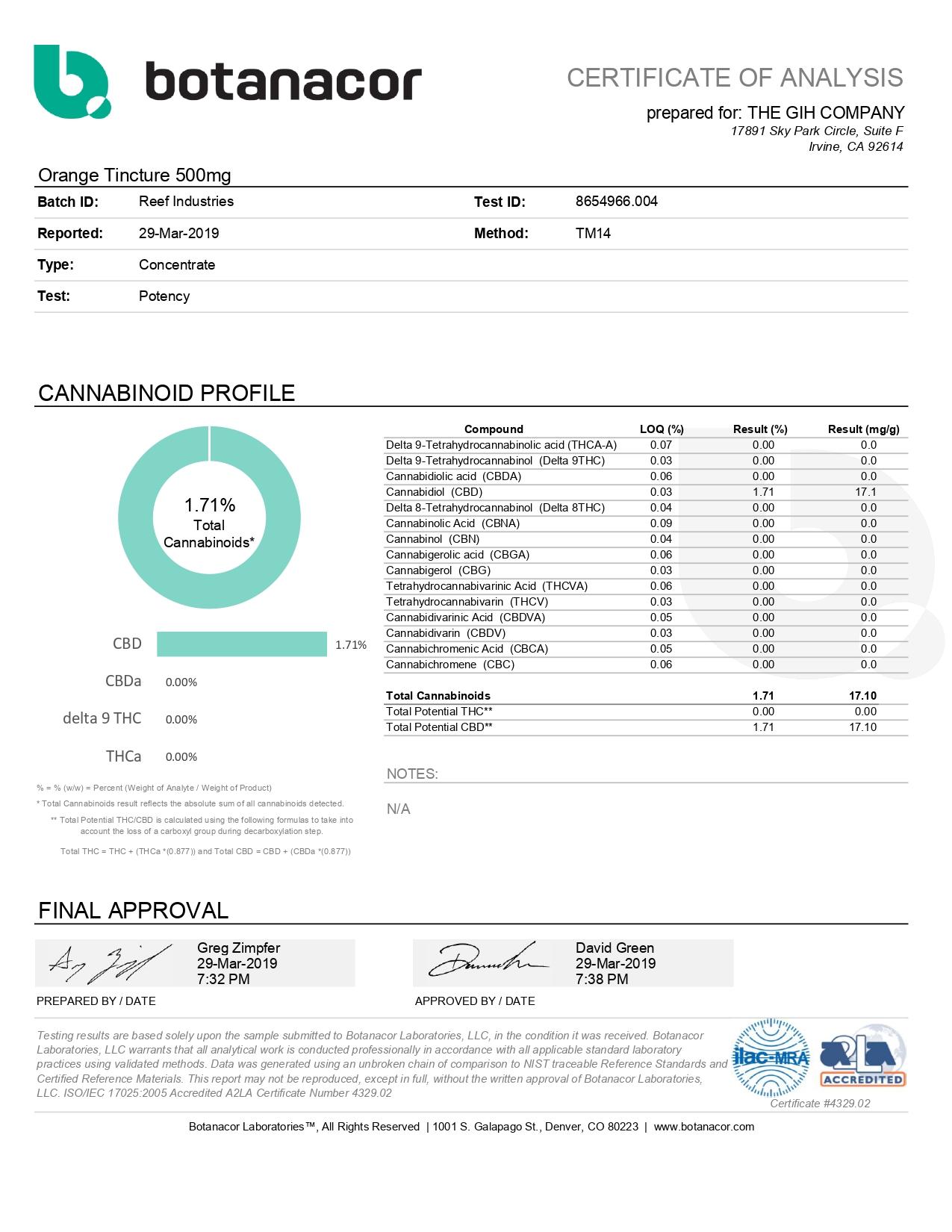 Reef CBD Tincture Newport Beach 500mg Lab Report