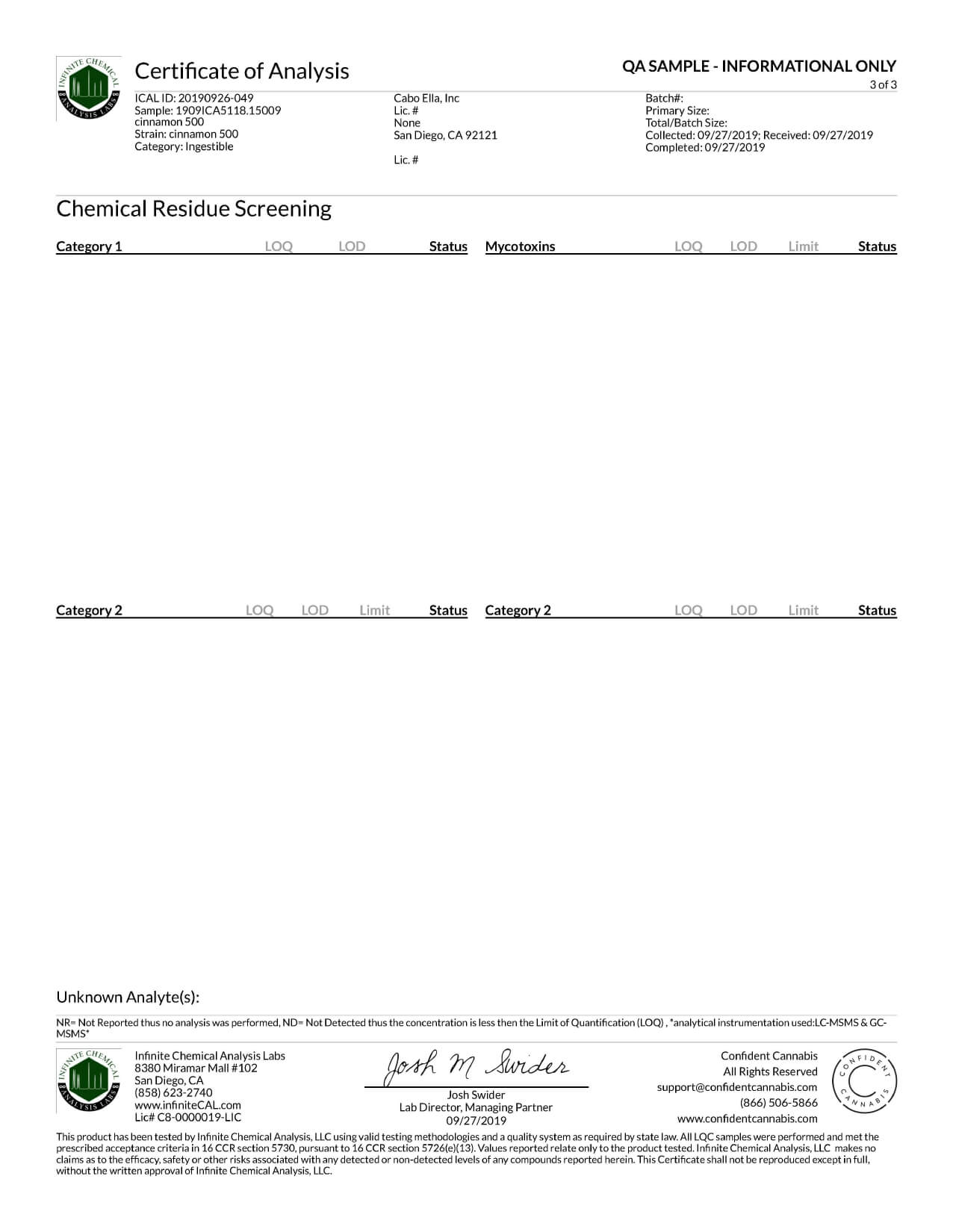 Smilyn CBD Tincture Cinnamon 500mg Lab Report