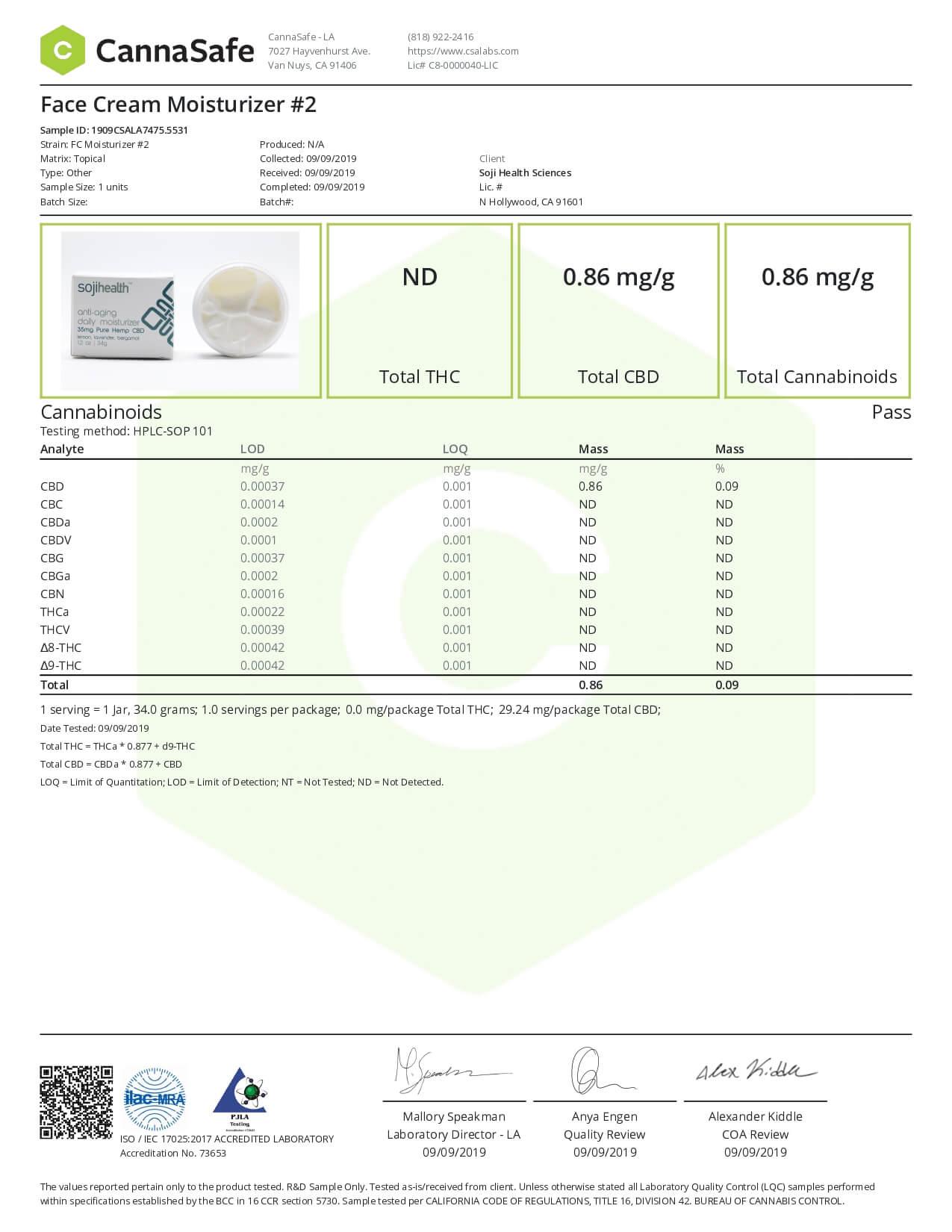 Soji Health CBD Topical Lemon Lavender Face Cream Lab Report