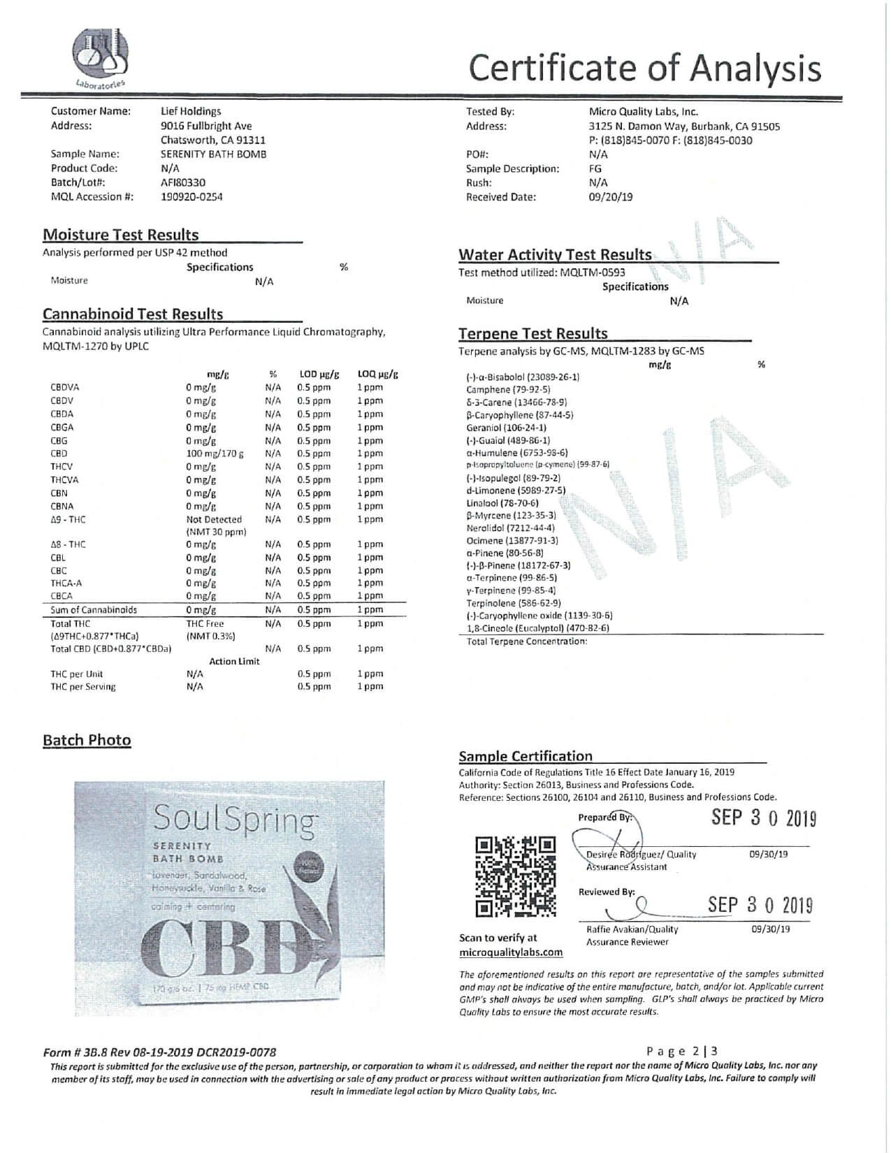 SoulSpring CBD Bath Serenity Bath Bomb Lab Report
