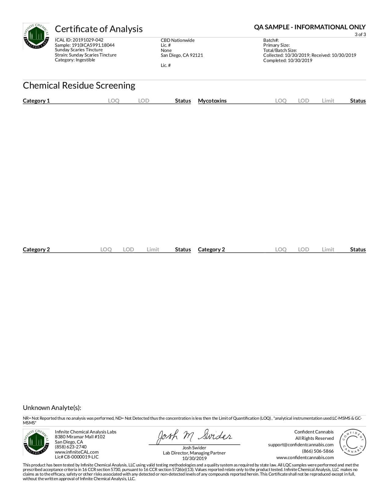 Sunday Scaries CBD Tincture Broad Spectrum w/Vitamins B12 & D3 Lab Report